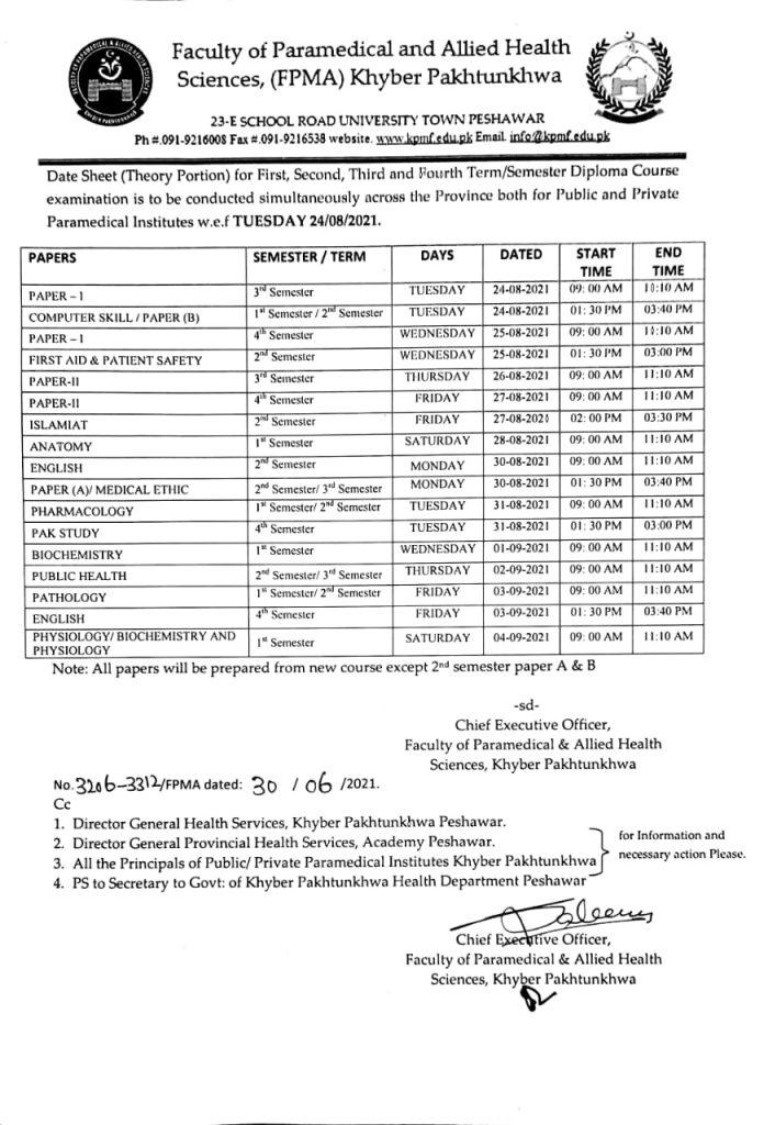 Datesheet diploma for August 2021